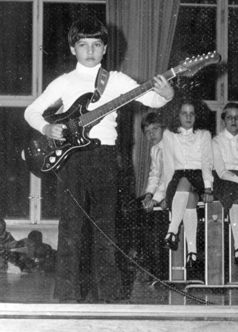 Jens at age 8 with 1st Electric Guitar + Amp